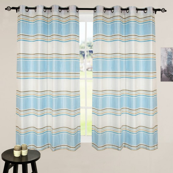 Curtain Jigisha Ivory/Light Blue 60""