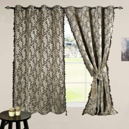"Curtain 60"" Jacquard Leaf Dark Beige/Black Mix"