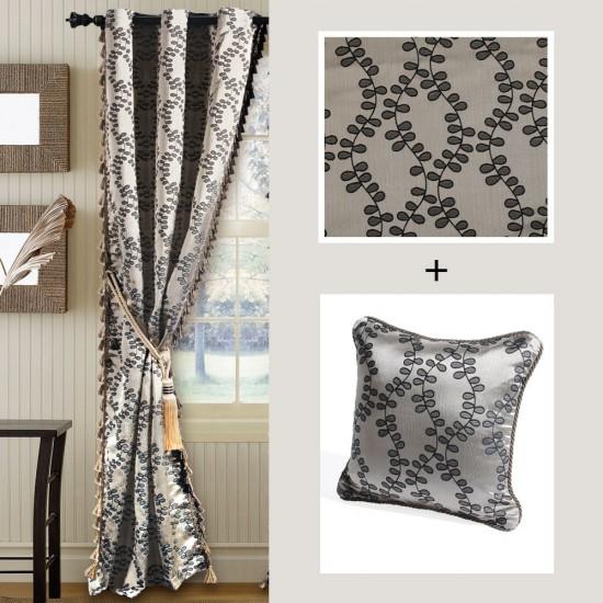 "Combo of Curtain 60"" Jacquard Leaf  & Cushion Cover-16"" X 16"" Dark Beige/Black Mix"
