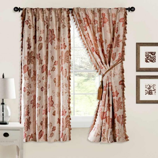 Curtain Jacquard Flower Beige Terracotta Mix 60""