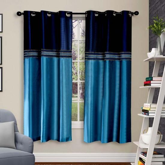 "Curtain Tripti Turquoise Navy Mix 60"""