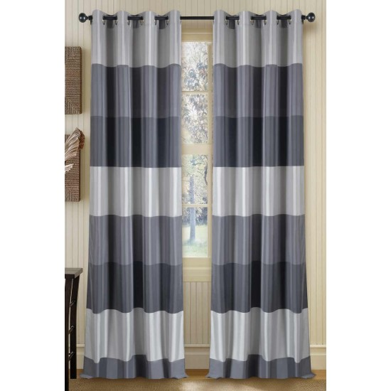 Curtain Abhina Metallic Grey 90""