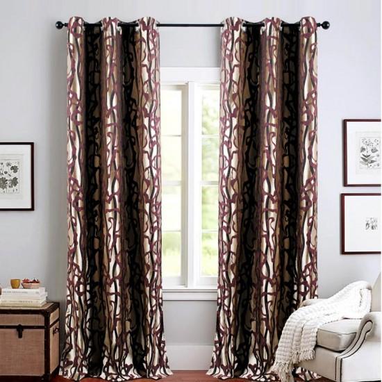 Single 7.5 ft Curtain Jacquard Amethyst Flow