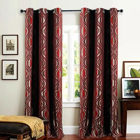 Single 7.5 ft Curtain Jacquard Red Eyelef
