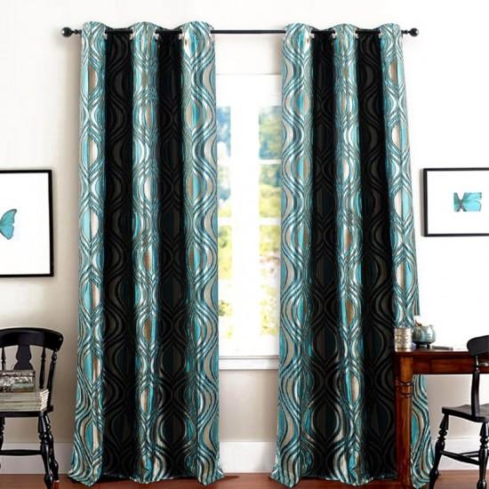 "Curtain Jacquard Eye leaf 90"" -Blue"