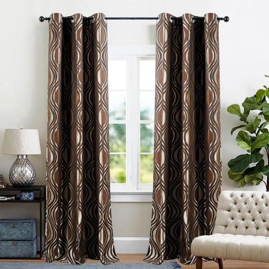 Single 5 ft Curtain Jacquard Chocolate Eyelet