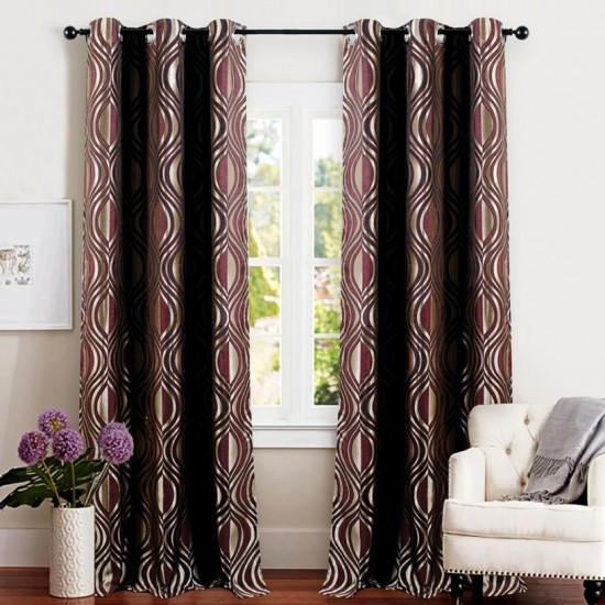 Single 5 ft Curtain Jacquard Amethyst Eyelet