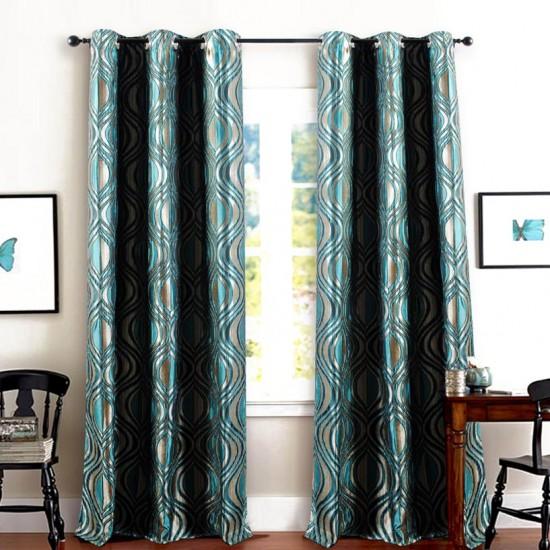 """Curtain Jacquard Eye leaf 60"""" New turquoise-Blue"""