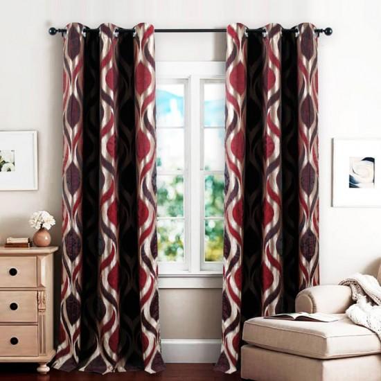 Single 7.5 ft Curtain Koma Burgundy