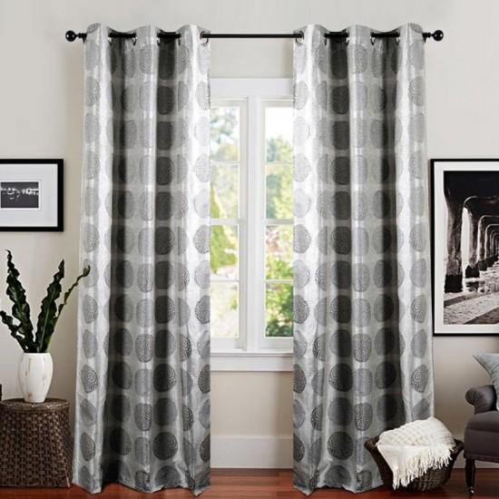 Single 7.5 ft Curtain Jacquard Silver Gray