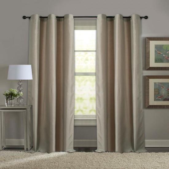 Curtain Solid Stripe Orange 7.5 Feet