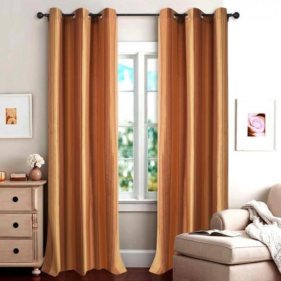 "Single Lining Curtain 46x90"" Rust Gold Multi Stripe"