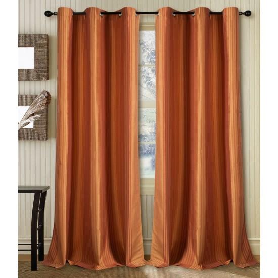 Curtain Multi Stripe Gold Terracotta 7.5 ft (Curtain