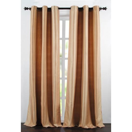 "Single Lining Curtain 46x60"" Dark Beige Multi Stripe"