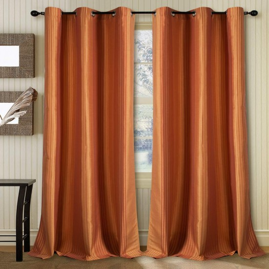 Curtain Multi Stripe Gold Terracotta 5 ft