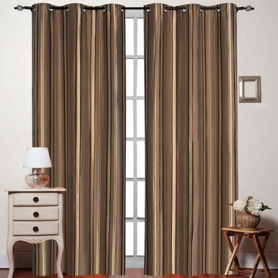 Curtain Thin Stripe New Brown 7.5 ft (Curtain
