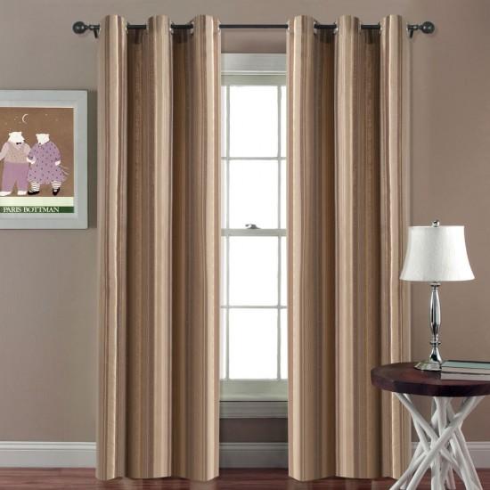 "Single Lining Curtain 46x90"" Mystique Brown Thin Stripe"