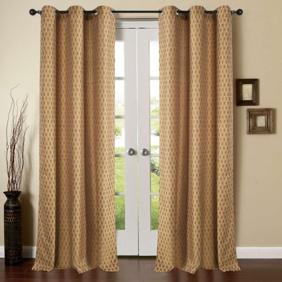 "Single Lining Curtain 46x90"" Milk Choco Tonal Stripe"