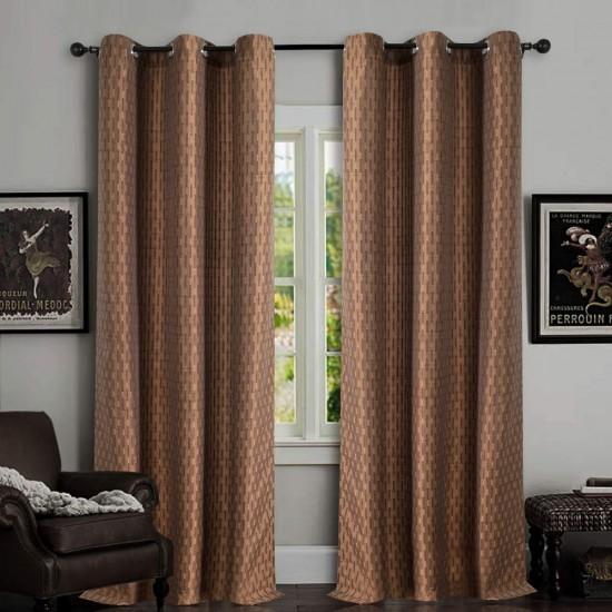 Single Curtain Tonal Stripe Mystique Brown