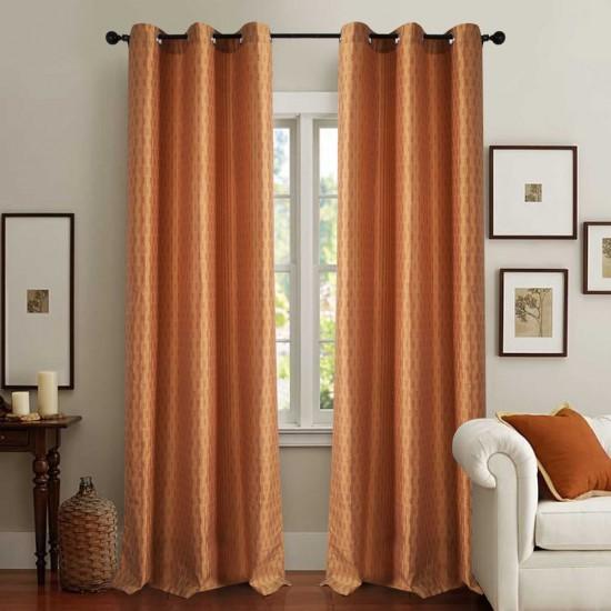 Curtain Tonal Stripe Light Terracotta 5 ft
