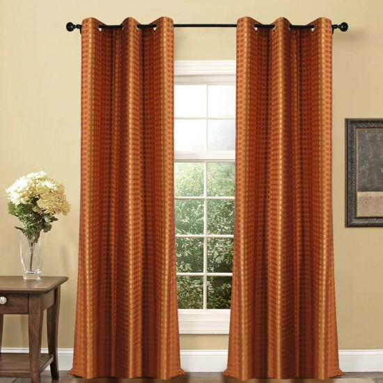 "Single Lining Curtain 46x90"" Dark Terracota Dot Box"