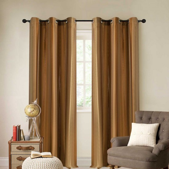 "Single Lining Curtain 46x60"" Gold Broad Stripe"