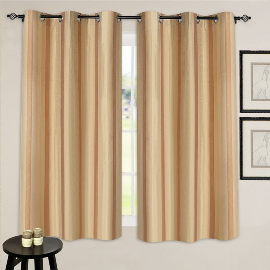 "Single Lining Curtain 46x60"" Lt Beige Broad Stripe"