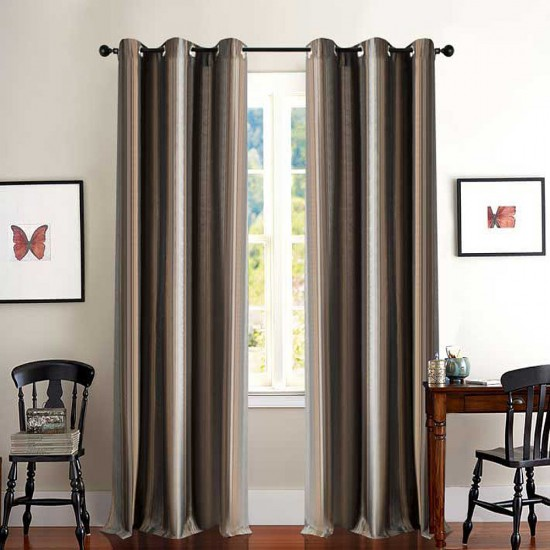 Curtain Thin Broad Stripe Grey Gold 5 ft
