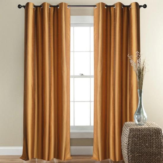 Curtain Thin Broad Stripe Gold Beige 7.5ft