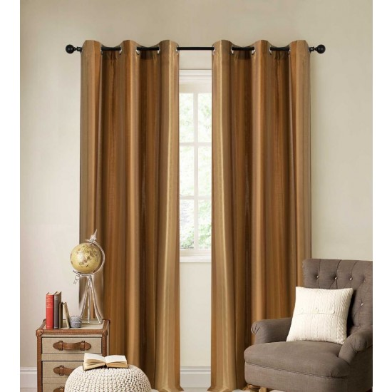 Curtain Broad Stripe Golden Brown 7.5 ft