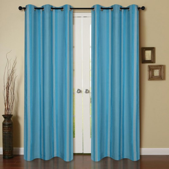 Curtain Extra Broad Stripe New Turquoise 7.5 ft (