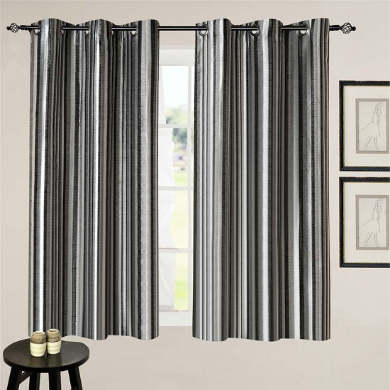 Curtain 3 Tone Stripe Black 5 ft