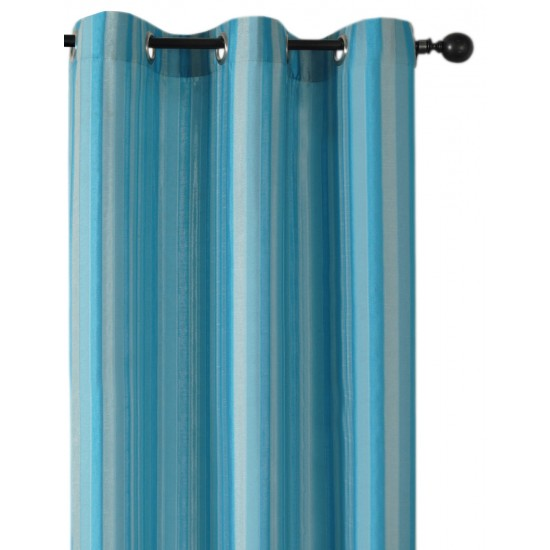 Curtain 3 Tone Stripe New Turquoise 5 ft