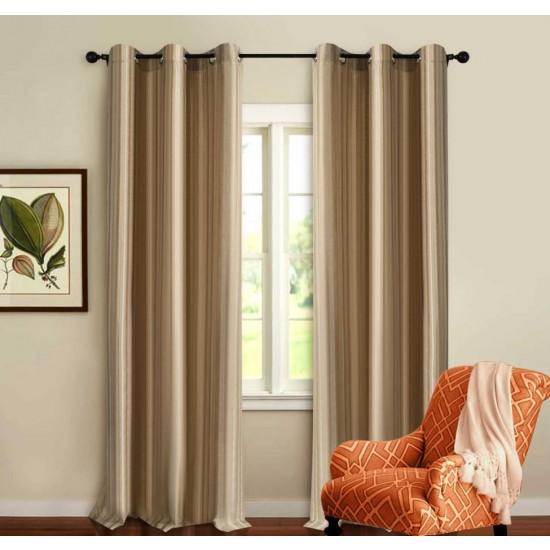 Curtain 3 Tone Stripe Beige 7.5 ft