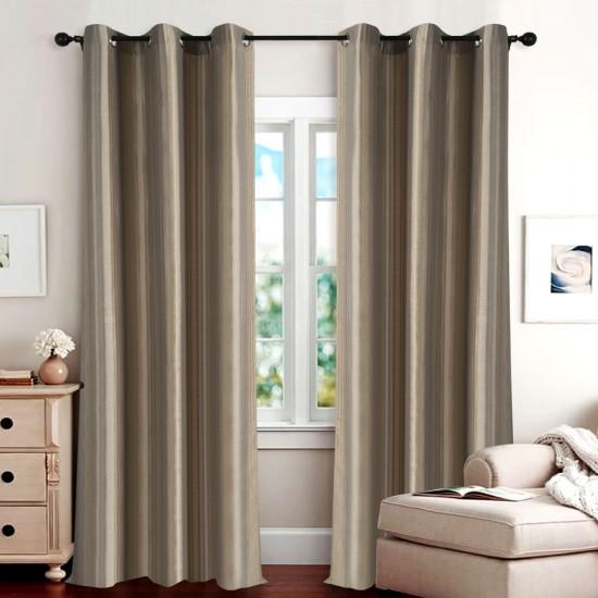 "Single Lining Curtain 46x60"" Dark Terracota Duo Stripe"