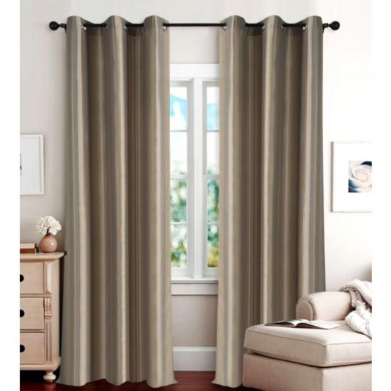 "Single Lining Curtain 46x90"" Dark Terracota Duo Stripe"