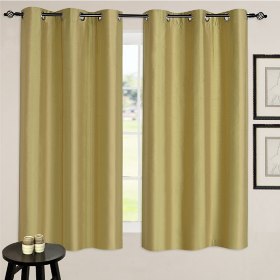 "Single Lining Curtain 46x60"" Amber Green Summer Stripe"