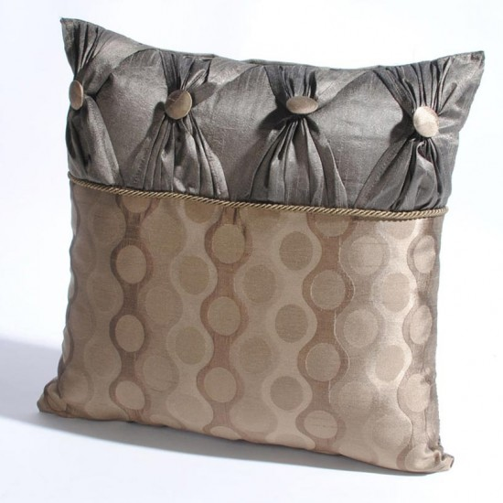 "Cushion Cover with 4 Bow 16"" X16 "" Grey"