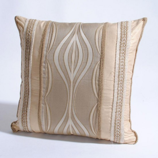 "Cushion Cover Wave with Trim 16"" X 16"" Beige"