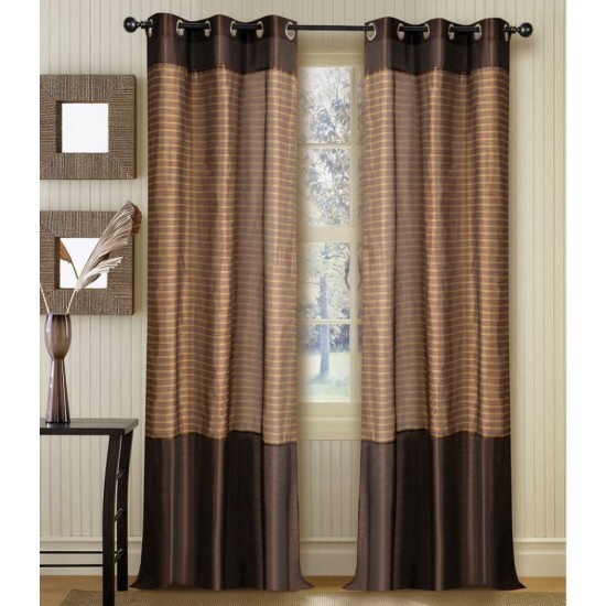 "Strip Band Curtain Chocolate 60"" ( set of 2)"