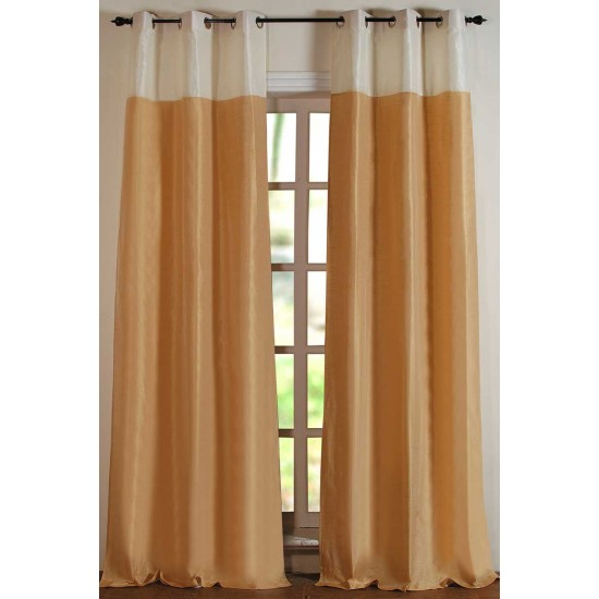 """Top Band Curtain Ivory / Light Beige 84"""" (Set of 2)"""