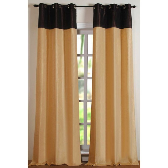 "Top Band Curtain Light Beige Milk Chocolate 108"""