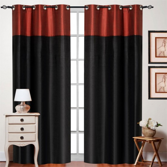 "Top Band Curtain Black Red Mix 84"" (Curtain"