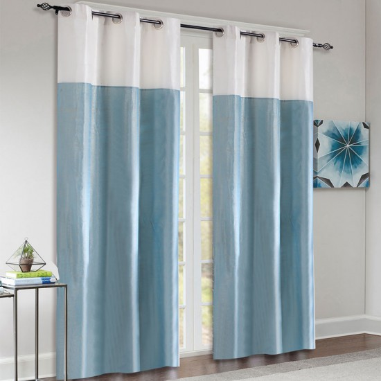 """Top Band Curtain Light Blue / Ivory 84"""" (Set of 2)"""