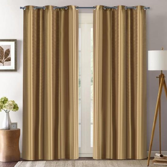 (Set of 2) 9ft Curtain Solid Hungama Dark Beige