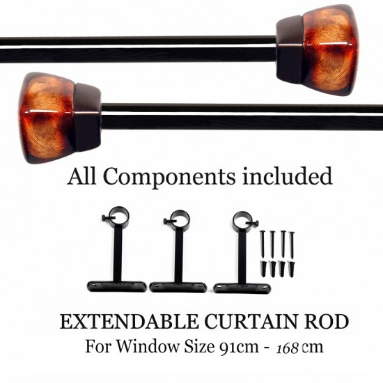 "Clear Amber Curtain Rod 36""-66"""