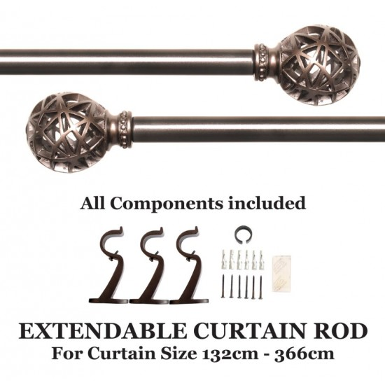 "Globe Knotch Curtain Rod 52""-144"""