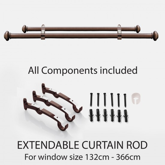 """Endcap Disc 25mm  Double Curtain Rod 52""""-144"""" Brown Oil Rubbed"""