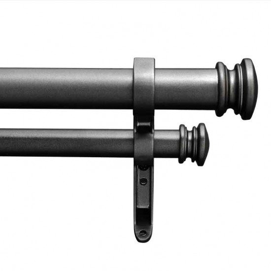 Endcap Taper 25mm Double Curtain Rod Charcoal