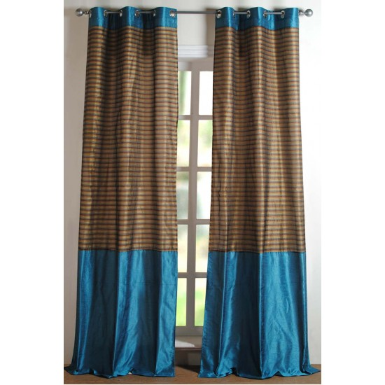Strip Band Curtain Turquoise 84""